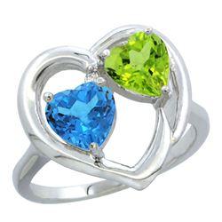 2.61 CTW Diamond, Swiss Blue Topaz & Peridot Ring 10K White Gold - REF-23F7N