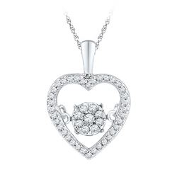 Diamond Cluster Moving Twinkle Heart Pendant 1/5 Cttw 10kt White Gold