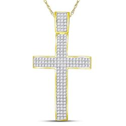 Mens Diamond Roman Cross Crucifix Charm Pendant 2-1/2 Cttw 10kt Yellow Gold