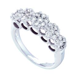 Diamond Multi Flower Cluster Ring 1-1/2 Cttw 14kt White Gold