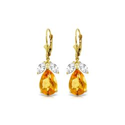 Genuine 13 ctw Citrine & White Topaz Earrings 14KT Yellow Gold - REF-61V2W