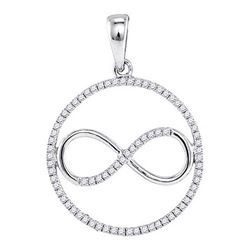 Diamond Infinity Circle Pendant 1/3 Cttw 10kt White Gold