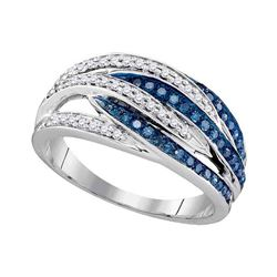Round Blue Color Enhanced Diamond Striped Band Ring 1/3 Cttw 10kt White Gold