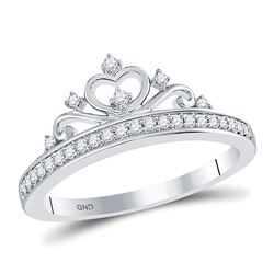 Diamond Crown Tiara Fashion Ring 1/6 Cttw 10kt White Gold