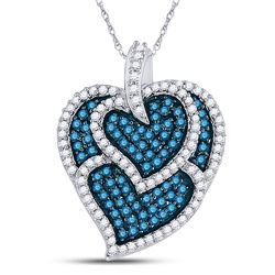 Round Blue Color Enhanced Diamond Tripled Heart Outline Pendant 1.00 Cttw 10kt White Gold