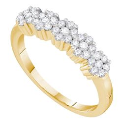 Diamond Flower Cluster Band Ring 1/2 Cttw 14kt Yellow Gold