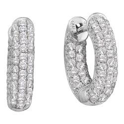 Round Pave-set Diamond Dainty Huggie Hoop Earrings 3/4 Cttw 14kt White Gold