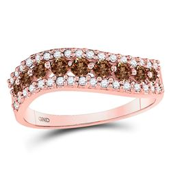 Round Brown Diamond Contoured Band Ring 3/4 Cttw 10kt Rose Gold