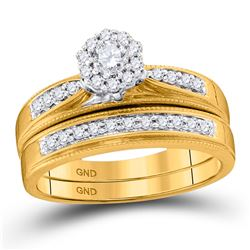 Diamond Bridal Wedding Engagement Ring Band Set 3/8 Cttw 10kt Yellow Gold