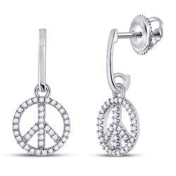 Diamond Peace-sign Dangle Earrings 1/4 Cttw 10k White Gold
