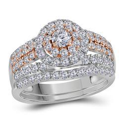 Diamond Double Halo Rose-tone Bridal Wedding Engagement Ring Band Set 1-1/2 Cttw 14kt White Gold