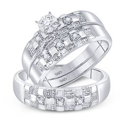 His & Hers Diamond Solitaire Matching Bridal Wedding Ring Band Set 1/8 Cttw 10kt White Gold