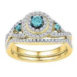 Round Blue Color Enhanced Diamond Bridal Wedding Engagement Ring Band Set 5/8 Cttw 10kt Yellow Gold