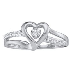 Diamond Solitaire Heart Ring 1/8 Cttw 14kt White Gold