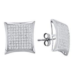 Diamond Convex Square Kite Cluster Earrings 1/2 Cttw 10kt White Gold