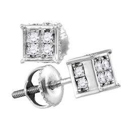 Diamond Square Cluster Screwback Earrings 1/4 Cttw 10kt White Gold