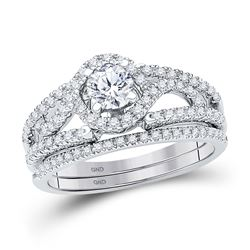 Diamond Bridal Wedding Engagement Ring Band Set 3/4 Cttw 14kt White Gold