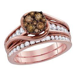 Round Brown Diamond Bridal Wedding Engagement Ring Band Set 1 Cttw 14kt Rose Gold