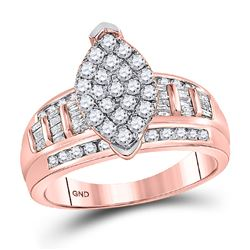 Diamond Marquise-shape Cluster Bridal Wedding Engagement Ring 1/2 Cttw 10kt Rose Gold