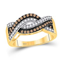 Round Brown Diamond Crossover Band Ring 1/2 Cttw 10kt Yellow Gold