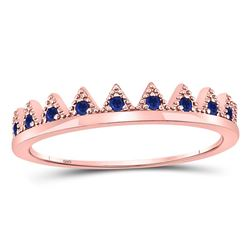 Round Blue Sapphire Chevron Stackable Band Ring 1/10 Cttw 10kt Rose Gold