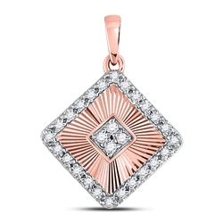 Diamond Diagonal Square Pendant 1/6 Cttw 10kt Rose Gold