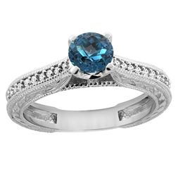 0.71 CTW London Blue Topaz & Diamond Ring 14K White Gold - REF-53F3N