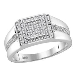 Mens Diamond Square Cluster Ring 1/5 Cttw 10kt White Gold