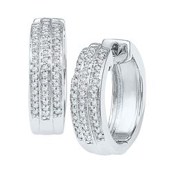 Diamond Triple Row Huggie Earrings 1/4 Cttw 10kt White Gold
