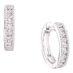 Diamond Milgrain Hoop Earrings 1/4 Cttw 14kt White Gold