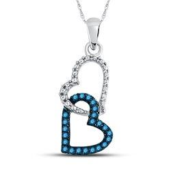 Round Blue Color Enhanced Diamond Double Heart Dangle Pendant 1/6 Cttw 10kt White Gold