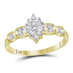 Round Baguette Prong-set Diamond Oval Cluster Ring 1/10 Cttw 10kt Yellow Gold