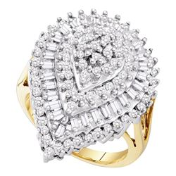 Round Baguette Diamond Teardrop Cluster Ring 1.00 Cttw 10kt Yellow Gold