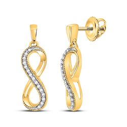 Diamond Infinity Dangle Earrings 1/10 Cttw 10kt Yellow Gold