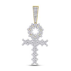 Mens Diamond Ankh Cross Charm Pendant 1.00 Cttw 10kt Yellow Gold