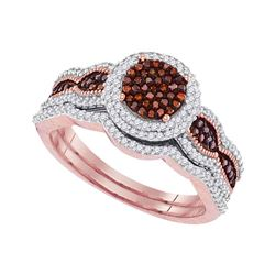 Round Red Color Enhanced Diamond Bridal Wedding Engagement Ring Band Set 1/2 Cttw 10kt Rose Gold