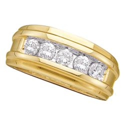 Mens Diamond Wedding Channel Set Band Ring 1.00 Cttw 14kt Yellow Gold