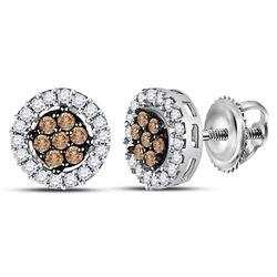 Brown Diamond Flower Cluster Screwback Stud Earrings 1/4 Cttw 10k White Gold