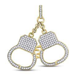 Mens Diamond Handcuff Charm Pendant 1-1/4 Cttw 10kt Yellow Gold