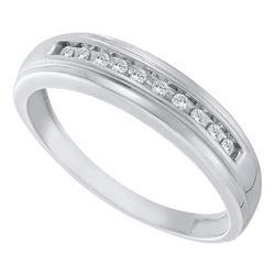Mens Round Channel-set Diamond Single Row Wedding Band 1/8 Cttw 10kt White Gold