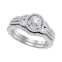 Diamond Bridal Wedding Engagement Ring Band Set 1/2 Cttw 10k White Gold