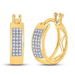 Diamond Triple Row Hoop Earrings 1/6 Cttw 10kt Yellow Gold