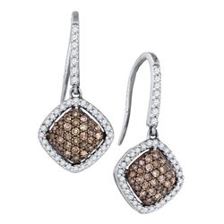 Round Brown Diamond Square Cluster Dangle Earrings 5/8 Cttw 10kt White Gold