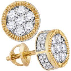 Mens Mens Unisex Diamond Cluster Milgrain Earrings 7/8 Cttw 10kt Yellow Gold