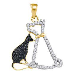 Round Black Color Enhanced Diamond Kitty Cat Feline Animal Pendant 1/4 Cttw 10kt Yellow Gold