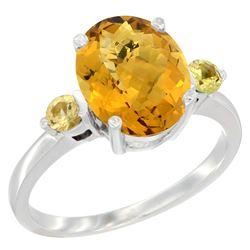 2.64 CTW Quartz & Yellow Sapphire Ring 14K White Gold - REF-31R4H