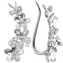 Diamond Floral Climber Earrings 1/10 Cttw 10kt White Gold