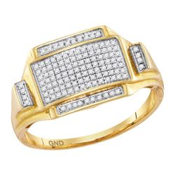 Mens Round Pave-set Diamond Rectangle Cluster Ring 1/4 Cttw 10kt Yellow Gold