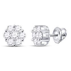 Diamond Flower Cluster Earrings 1.00 Cttw 14kt White Gold