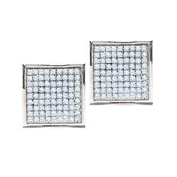 Round Pave-set Diamond Square Cluster Earrings 7/8 Cttw 10kt White Gold